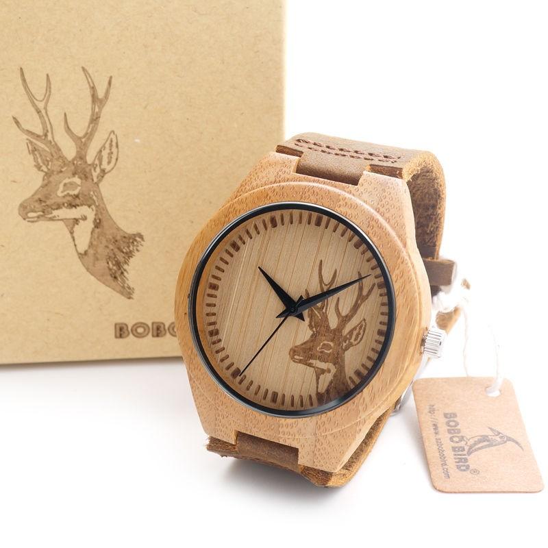 26d16ad9903 Dřevěné hodinky s hlavou srnce
